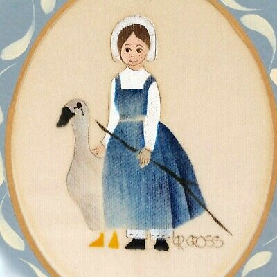 Vintage Folk Art Theorem Painting R. Ross Girl Goose 60's 70's 80's Blue White