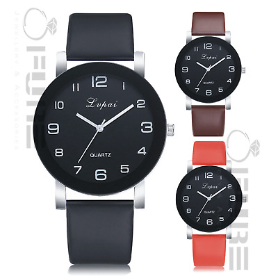 Fashion Women Lady Casual Quartz Dial Leather Wrist Watch with Easy Numbers