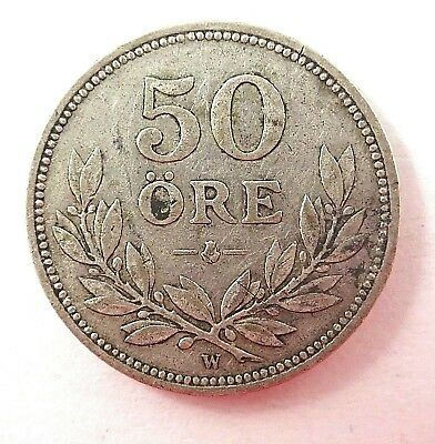 Sweden  1911  50 Ore Silver Coin - Not Very Worn