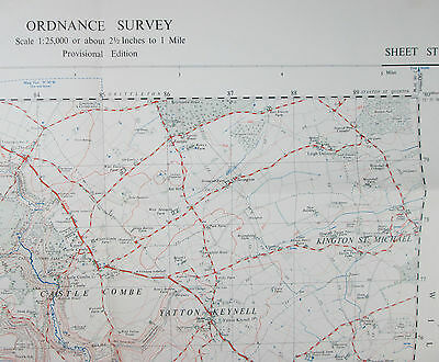 1960 old vintage OS Ordnance Survey 1:25000 First Series map ST 87 Castle Combe