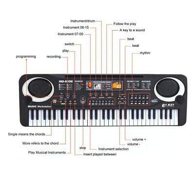 61 Keys Electronic Piano Keyboard With Microphone Children Musical Instrument VY