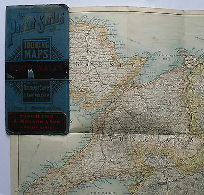 c 1895 Bartholomew Pocket Series Map North Wales 4 miles to 1 inch old map