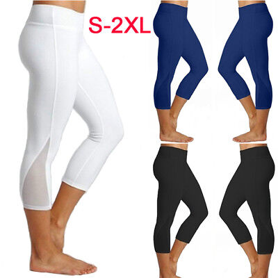 Damen 3/4 Capri Fitness Yoga Netz Leggings Sport Fitnessstudio Jogging