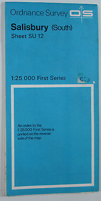 1972 old vintage OS Ordnance Survey 1:25000 First Series Map SU 12 Salisbury (S)