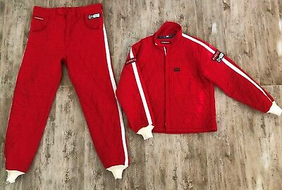 Vintage Pyrotect 2-Piece Red with White Stripes Racing Suit 3-2A/5 Rating-XL