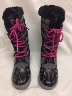 e50fa453b0de0 Little Girls Totes Sabrina Winter Snow Boot Grey Pink Boots Lace Up Pink NIB