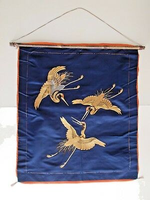 Antique Japanese Ceremonial Fukusa embroidered with 3 Golden Cranes 18th century
