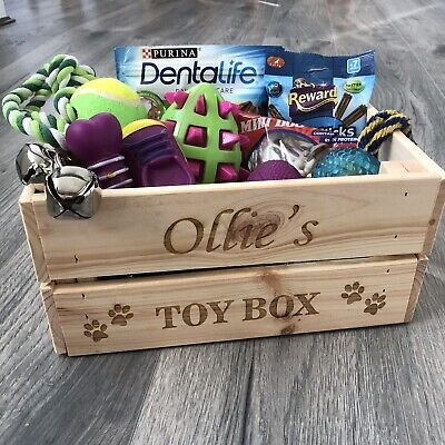 Personalised Pet Toy Box Dog Cat Wooden Crate Box Storage Treats Engraved