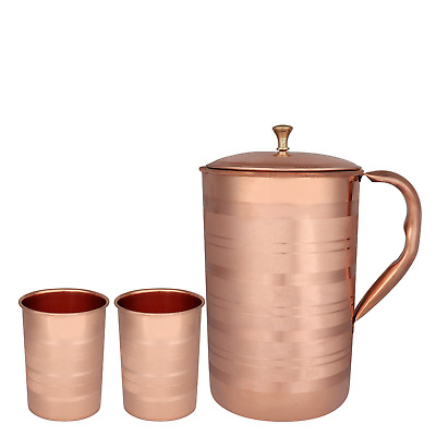 Zap Impex® Luxury Pure Copper Jug with 2 Glass Receptacles Accessory Good...