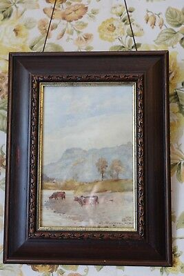 Pair of late 19th century signed watercolour paintings of cows