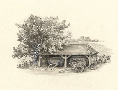 Claire Rome, Hay Carts in Barn - Original mid-20th-century watercolour painting