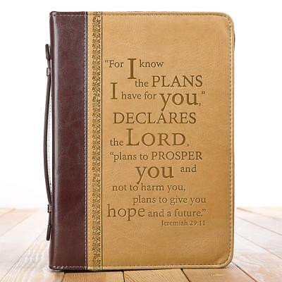 """I Know the Plans"" Two-tone Bible / Book Cover - Jeremiah 29:11 (Medium)"