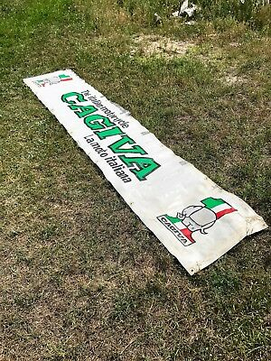 Vintage Cagiva Ducati Vinyl Race Day Banner Double Sided Very Large Rare