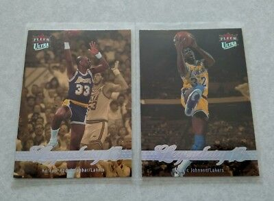 14c3832dc71 2007-08 Fleer Ultra #246 Magic Johnson Lakers Card lot #249 Kareem Abdul