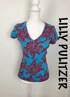 d9f628cd734bd Lilly Pulitzer Women Pink Blue Searulean Michele V-Neck Short Sleeve Shirt  Sz S