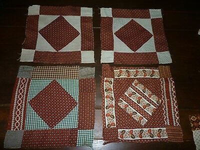 4 Antique Quilt Blocks 1800's Calico's Hand Pieced Copper Madder Early #3