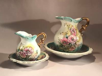 2 Lefton Pink Poppies Pitchers And Bowls