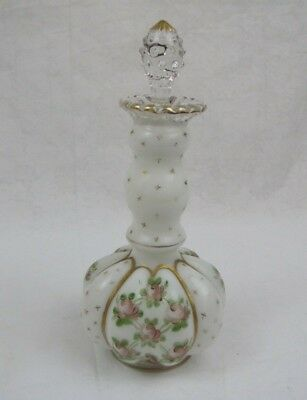 Fenton Charleton Perfume Bottle Hand Decorated Pink Rose Gold Accents READ