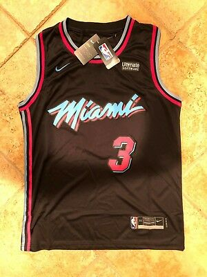 #3 Dwayne Wade Miami Vice City Edition Mens Stitched Jersey Black - NWT