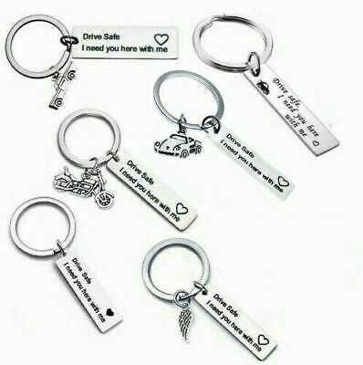 Drive Safe Keyring -Stainless Steel Car Motorbike Love Heart Keychain New Driver
