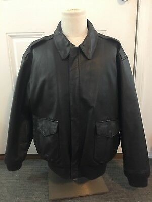 79b6743a2 NAVY AIRBORNE LEATHERS Leather Flight/Bomber Jacket - $120.00 | PicClick