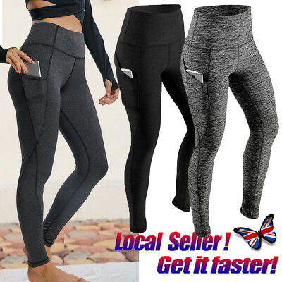 UK HOT Womens Compression Fitness Leggings With Pockets Yoga Pants Gym Workout