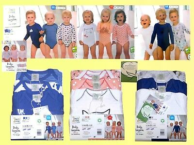 Pack of 3 Baby Underwear Body Suit Long Sleeved Size Gr.62-80 Model Selectable