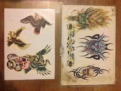 2 Laminated Sheets Of 1980s Tattoo Flash