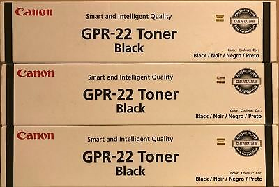 3 New Genuine Factory Sealed Canon GPR-22 Black Toner Cartridges