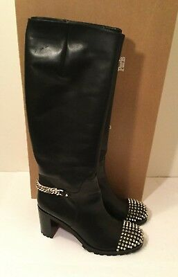 b6103e7daaf Christian Louboutin NAPOLEO Leather Chain Knee High Tall Boots Heel Black  Sz41.5