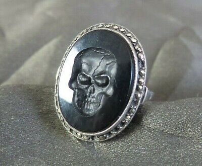 Great Rare Antique 19th Century European 835 Silver & Onyx Vanitas Skull Ring