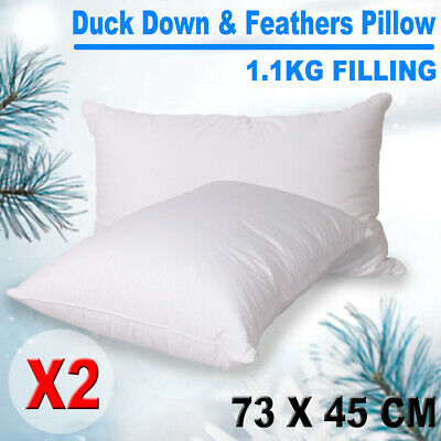 Duck Down Feather Pillows Twin Pack Cotton Cover 1.2kg Filling White 73X45cm 2X