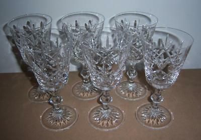 6 x EDINBURGH CRYSTAL LOMOND PATTERN RED WINE GLASSES (All Signed)