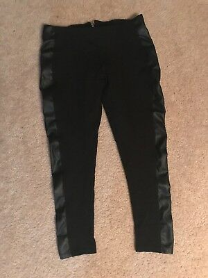 Shinestar Sz Large Black Legging Pants Faux Leather Side Panels Vegan Stretch