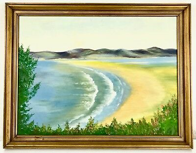 Vintage Oil Painting Landscape - Coastal Ocean 21x27 Framed on Board Signed SB