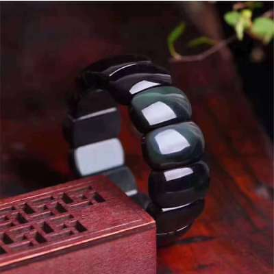 Natural Rainbow Eyes Obsidian Quartz Crystal Lucky Rectangle Beads Bangle K005
