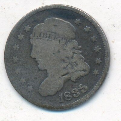 1835 Capped Bust Silver Half Dime-Large Date,large 5-Nice! Ships Free! Inv:2
