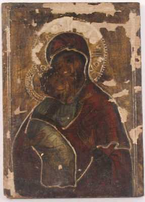 Antique Russian Orthodox Icon - Oil on Panel - Madonna and Child