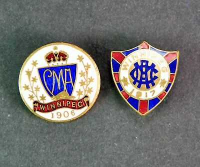 2X Antique Canadian Medical Association Convention Pins - Winnipeg, 1906 & 1917