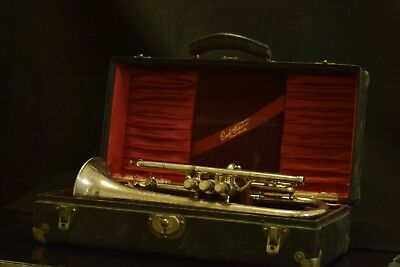 Conn Perfected Wonder Cornet 1908 w/patented Bb/A Mechanism Silver/Gold and Case