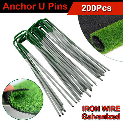 200Pcs Heavy Duty Metal Anchor Pins U Pegs f Synthetic Grass Turf Lawn Weed Mat