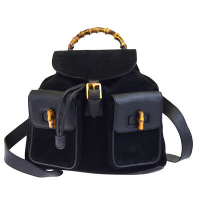 a78a55022631 Authentic GUCCI Logos Bamboo Backpack Bag Suede Leather Black Italy 65EG627