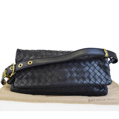 Authentic BOTTEGA VENETA Intrecciato Hand Bag Leather Black Gold Italy  32BC512 05e3339c5fd41