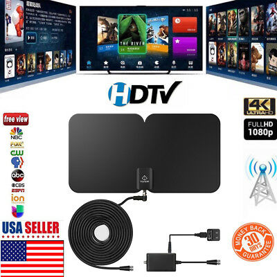 TILVIEW Thin Flat TV Antenna Full HD Digital Sky Link Style Amplifier 75 Miles