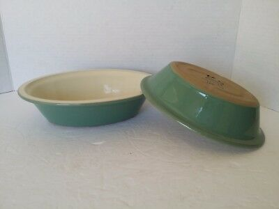 2 Rare Denby England Manor Green ?  Oval Baking Dishes Casseroles Bowls Serving