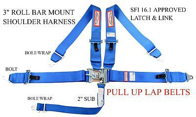 """RACING HARNESS SEAT BELT HANS SFI 16.1 5 POINT V MOUNT 3/"""" LATCH /& LINK ANY COLOR"""