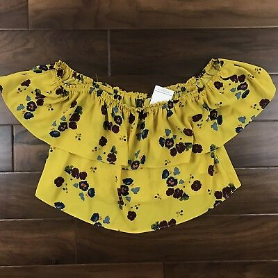 bd08e0b6fe5 ZARA WOMENS SIZE Small Yellow Floral Crop Top Blouse Off The Shoulder