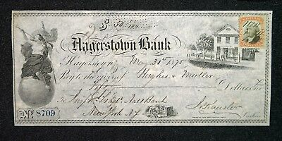 """Vintage """"Hagerstown Bank"""" Check from 1875 with Two Cent Internal Revenue Stamp"""