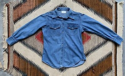 Vintage 70s Ranchcraft JCPenney Medium Denim Pearl Snap Western Shirt 1970s 60s