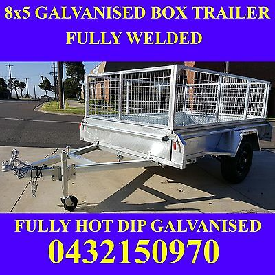 8x5 box trailer with cage galvanised fully welded heavy duty